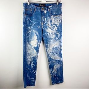 Yu Tao Asian tattoo skinny jeans 33